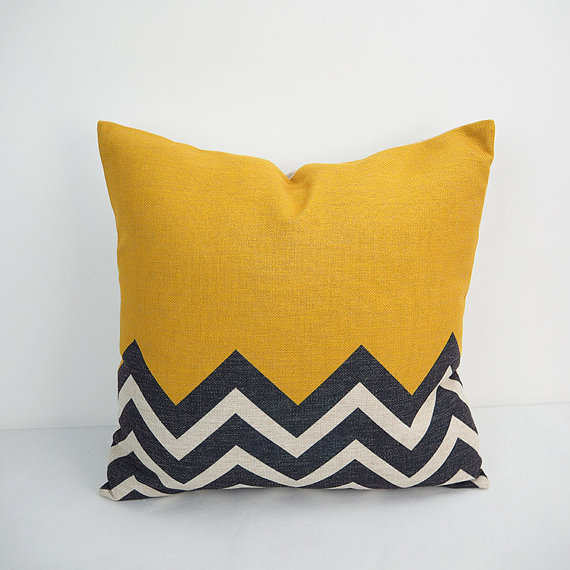 Yellow Color Geometric Decorative 24x24 inch Cushion cover