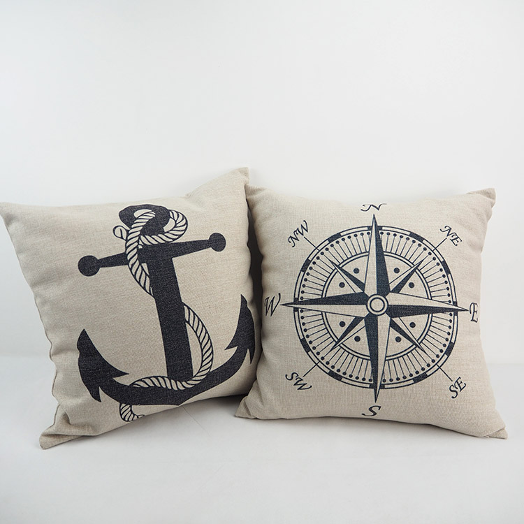 Nautical Pillow Anchors Compass Decorative Cushion Cover 20 20 Homedecoryi